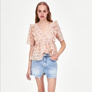 Pink Embroidered Ruffle Top